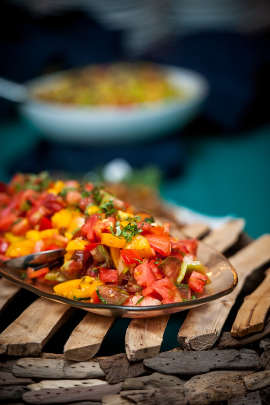 Heirloom tomatoes are the focal point of the Churchill Events rustic tomato salad. Photo Courtesy of Emilie Inc. http://www.emilieinc.com