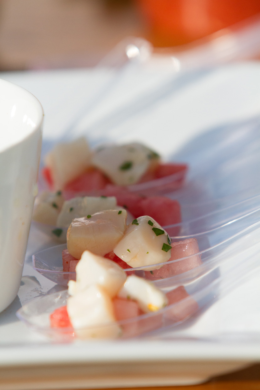 Curried watermelon sea scallops highlight our locally focused Hors D'oeuvres menu. Photo Courtesy of Kivalo Photography http://kivalophotographyblog.com