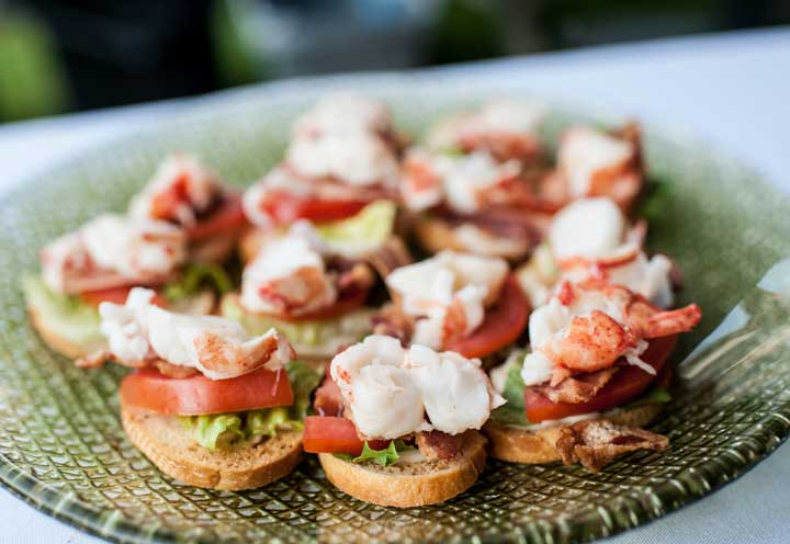 Lobster BLTs - Maine wedding... Maine lobster. Lobster BLT bites are passed as appetizers at a Churchill Events wedding. www.churchillcaterers.com
