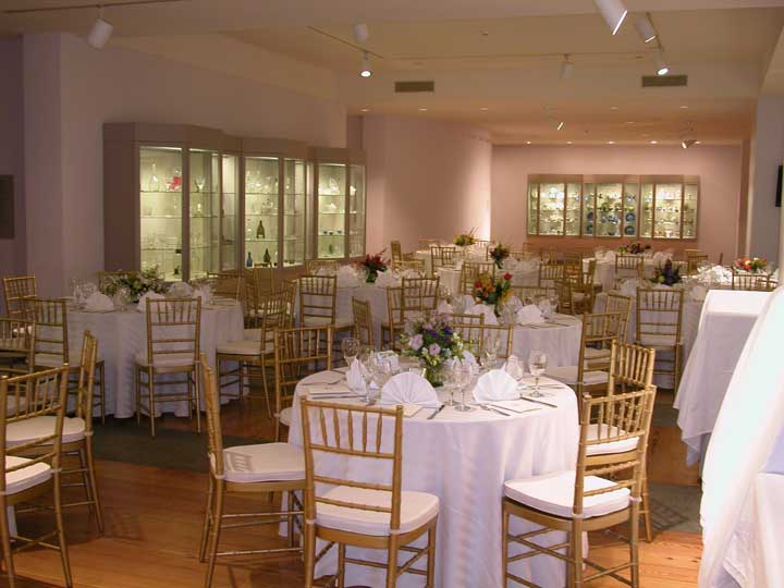 A catered fundraiser at the Portland Museum of Art glass gallery.