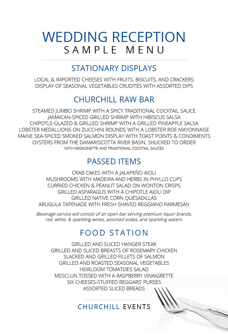 Menus Churchill Events