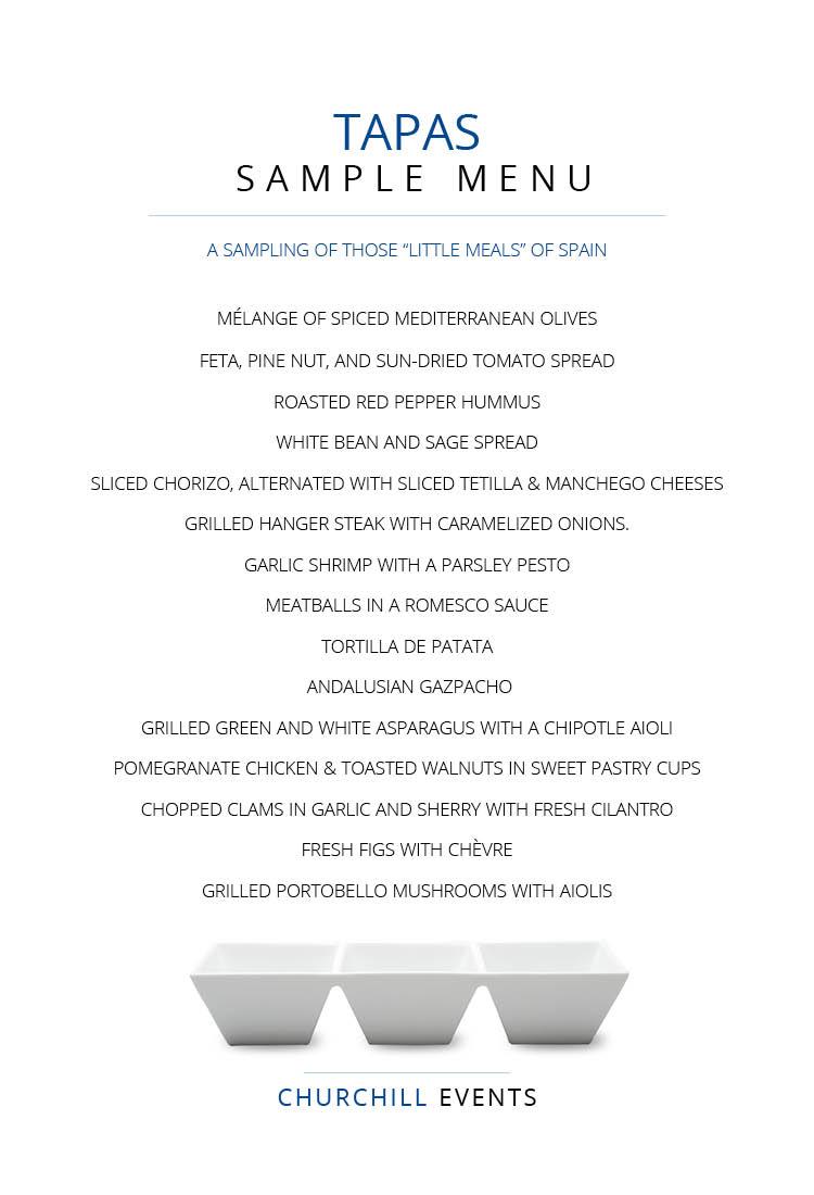 Tapas menu featuring chorizo, grilled hangar steak, garlic shrimp with parsley pesto, fresh figs with chèvre, grilled portobello mushrooms with aioli - something for everyone!